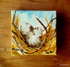 "Two Small Cardinal Bird Eggs Original Painting by Amy Brandum- 4""x4"", acrylic-handmade art original design OOAK by MetalChocolate on Etsy"