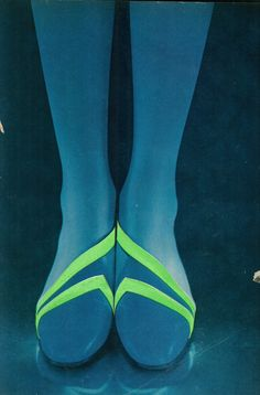 blue + green | Harper's Bazaar, April 1966, shoes by Margaret Jerrold