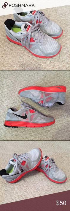 Nike Lunarlon Nike Lunarglide 3's! Awesome running/workout gym shoes. Worn less than a handful of times. Beautiful light gray with pops of highlighter orange, and mesh sides! These are a kids size 3.5, which is equivalent to a women's 5! Nike Shoes Athletic Shoes