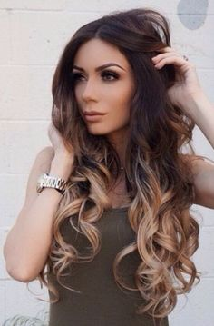 Straight Curly Wavy One Piece Clip in Dip dye Ombre Hair Extensions Synthetic   (Col. darkest brown to dirty blonde)