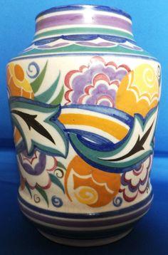 Poole Pottery 7 inch Vase Pattern CO Endless Wave Shape 975 Marian Heath 1937