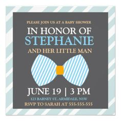 Bow tie baby boy shower invitations blue
