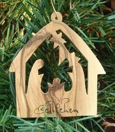 Stable with Nativity Ornament (Olive Wood) $5.50