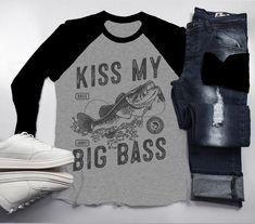 dd6442838 Men's Funny Fishing T-Shirt Kiss My Big Bass Vintage Fisherman Offensive  3/4 Sleeve Raglan