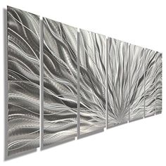 Silver Metal Wall Art - Beautiful Silver Etched Metallic ...
