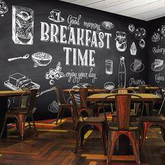 Breakfast Time Enjoy Your Day Style Mural Cafe, Cafe Wall, Decoration Restaurant, Restaurant Design, Bar Vintage, Chalkboard Restaurant, Chalk Menu, Coffee Shop Bar, Home Building Design