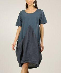 Look at this #zulilyfind! Navy Tapered Linen Shift Dress by 100% LIN #zulilyfinds