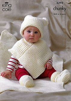 King Cole Baby Hat, Poncho, Booties & Blanket Comfort Chunky Knitting Pattern 3392