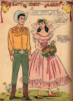 An homage to Katy Keene, created by Bill Woggon. This page is dedicated to the Katy of No copyright infringement intended. Barbie Coloring Pages, Fairy Statues, Creation Art, Cowboy Outfits, Paper Dolls Printable, Handfasting, Nashville Wedding, Vintage Paper Dolls, Retro Toys