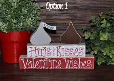 Hugs & Kisses Valentine Wishes Block Set XOXO Wood Block Set Valentine's Day  Decor Primitive Valentines Day DecorationStacking Block Set by BlocksOfLove1 on Etsy https://www.etsy.com/listing/217111715/hugs-kisses-valentine-wishes-block-set