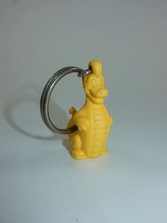 Tupperware Yellow Dinosaur Dragon Keychain Key Ring  #Tupperware