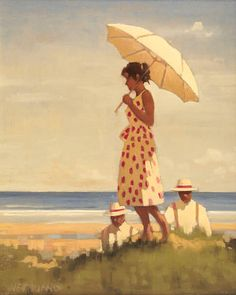 Jack Vettriano OBE (b1951) Girl and parasol 51 x 41cm (20 x 16ins)