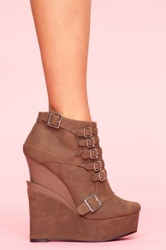 Mercer Wedge Boot - Cocoa $100 at nasty gal, please request!! Ladies!! So they come back in stock!!