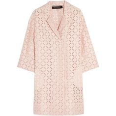 Roland MouretPaddington Broderie Anglaise Cotton-blend Coat (572.860 CLP) ❤ liked on Polyvore featuring outerwear, coats, jackets, roland mouret, coats & jackets, blush, pink coat, oversized coat and pink oversized coat