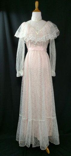 70's Vintage Pink & White S/M Victorian Wedding/ Hippie/ Boho/ Prairie dress #Unbranded