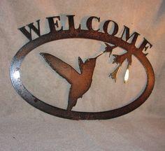 Welcome Hummingbirds Metal Wall Art Garden Decor by frolicnfriends, $25.00