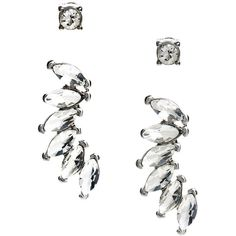 GUESS Dylan Ear-Crawler Set found on Polyvore featuring jewelry, earrings, silver, post earrings, studded jewelry, rhinestone earrings, rhinestone jewelry and guess jewellery