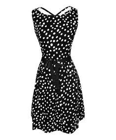 This Black & White Polka Dot Cross-Back Sleeveless Dress by Bonmode is perfect! #zulilyfinds