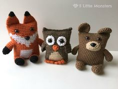 "If you like to crochet, but don't feel a 100% confident yet doing ""complicated"" patterns, but are keen to make some cute and fun crocheted toys, you HAVE to check out this adorable Woodland Critter Boxy set!!! They are simply adorable.…"