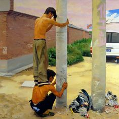 2003 GETTING CHICKENS, Liu Xiaodong (b1963, Jincheng, Liaoning Province, China). He now holds tenure as a professor in the painting department at CAFA