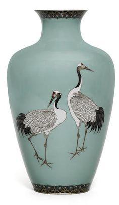 A cloisonné-enamel ovoid vase By Hayashi Kodenji, Meiji Period Vase Centerpieces, Vases Decor, Art Decor, Japanese Vase, Japanese Pottery, Porcelain Jewelry, Porcelain Vase, Fine Porcelain, Clear Glass Vases