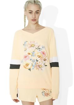 Wildfox Couture Gidget Beach Jumper they pick only the prettiest flowerz fer yew, bb. This adorable sweatshirt features a comfy light peachy orange construction, shallow v neckline, black N' white stripes on da sleevez, and a pretty bouquet of roses on da front.