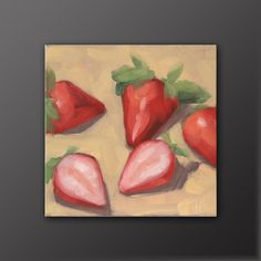 """Items similar to Original oil painting of strawberries, oil on panel, """"Strawberry Split"""" by Trevor Howard on Etsy Strawberry Cheesecake, Strawberry Recipes, Gingham Curtains, Strawberry Decorations, Strawberry Fields Forever, Red Gingham, Strawberries, Kitchen Ideas, Oil"""