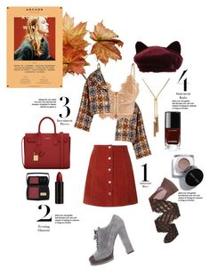 """""""Wonderful Autumn"""" by egchee ❤ liked on Polyvore featuring Sonia Rykiel, Yves Saint Laurent, Wolford, Serge Lutens, Lancôme, Maison Michel, Chanel, Fall, plaid and autumn"""