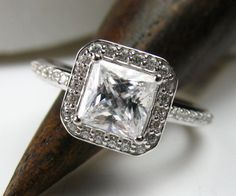 Diamond Halo Engagement Ring Princess Cut by spexton on Etsy, $1599.00 A girl can dream right :)