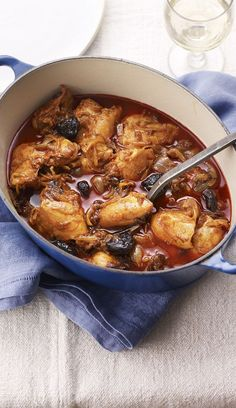 Chicken with saffron and prunes is completely exotic and utterly delicious.