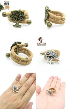 [Visit to Buy] Natural Cork Portuguese cork Antique Brass life of tree cork women Ring soft original, adjustable  handmade R-015 #Advertisement