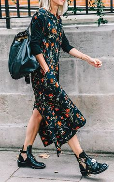 FLOWER POWER // we love this look // #boots #floral #flowerdress #dress #maxidress