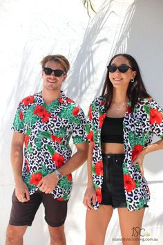 Wicked mens two piece set and ladies wrap top. Get this ultimate party kit for day at the beach, luau, cruise, rugby, bachelor party, cricket or the pub! #cabana #partykit #animalshirt #partyshirts #leopardshirt #hawaiianshirts #hawaiianshirtandshorts #bucksshirts #bachelorpartyshirts