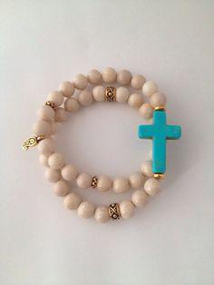 Double Wrap Turquoise Cross Bracelet on Etsy, $42.00