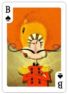 http://illustrators.ru/users/idsaffronmilk/portfolio Catherine Razinkova  Валет Пик! Самый смелый мужчина на свете. Ему ничего и никто не страшен! Он разбивает женские сердца, одним поворотом брови, его лучший друг-рыжый лев Барбарис:) PS: для конкурса по созданию колоды карт «illustrators.ru»