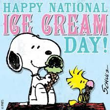"""""""Happy National Ice Cream Day"""" from Snoopy & Woodstock. National Ice Cream Month is July, and National Ice Cream DAY is the third Sunday in July. National Icecream Day, National Ice Cream Month, Today Is National, National Days, Snoopy Pictures, Ice Cream Day, Peanuts Characters, Cartoon Characters, Snoopy Quotes"""