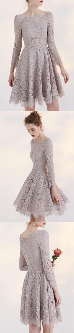 Gray A Line Long Sleeve Homecoming Dresses,Lace Appliques Short Prom Dress H173  Wedding Gowns, Cheap Wedding Dress, Beach Wedding Dress, Formal Dress, Bridesmaid Dress, Simple Wedding Dress.