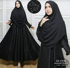 Gamis Syar'i Gliter Jaguar Naila Hitam - ButikMuslim69.com