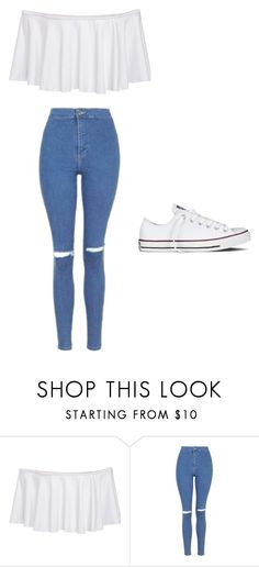 """Untitled #185"" by ellzann ❤ liked on Polyvore featuring Topshop and Converse"