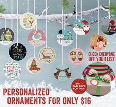 The little gift that's a big deal! $16 personalized ornaments. A gift tag, a place setting and a holiday keepsake for the years to come. Our personalized ornaments are the perfect little gift for everyone on your list. Buy 7 and get free shipping! Today only!
