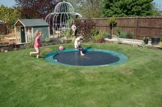 A sunken trampoline. Also needs a sump pump. A sunken trampoline. Also needs a sump pump. A sunken trampoline. Also needs a sump pump. Outdoor Games, Outdoor Play, Outdoor Living, Outdoor Decor, Trampolines, Outdoor Projects, Home Projects, Garden Projects, Garden Ideas