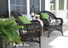New Spring Decor on the Porch | Neutrals including small amount of print with fresh green accent