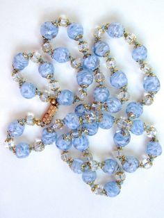 Vintage Venetian Murano Blue Art Glass Bead Necklace | eBay