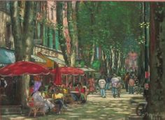 Jacques PEYRELEVADE cours Mirabeau. Aix En Provence, Provence France, Gouache, Painting, Art, Ink, Watercolor Paintings, Landscapes, Provence