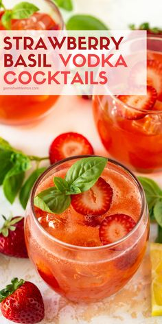 A splash of bubbles in these Strawberry Basil Vodka Cocktails takes your summer sipping to a tasty new level! A splash of bubbles in these Strawberry Basil Vodka Cocktails takes your summer sipping to a tasty new level! Basil Cocktail, Cocktail Garnish, Cocktails With Basil, Strawberry Cocktails, Prosecco Cocktails, Strawberry Vodka Lemonade, Jalapeno Margarita, Margarita Recipes, Vodka Drinks
