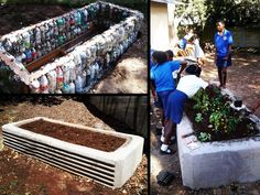 This garden was built using EcoBricks - bottles filled with unrecyclable plastic. They encourage people to keep their soil free of plastic and in return the raised bed provides food security. Vegetable Planters, Vegetable Garden, Raised Garden Beds, Raised Beds, Brick Projects, Brick Garden, Bottle Garden, Reuse Recycle, Edible Garden