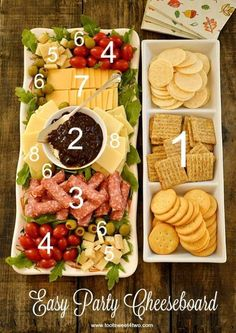 Like the presentation Easy Party Cheeseboard - simple ingredients, big flavor! WMS Garden Party Easy Party Cheeseboard numbered with cheese, crackers, etc. Party Hosting Tips and Ideas Take a look at this Easy Party Cheeseboard Idea. Party and Hosting Tip Snacks Für Party, Appetizers For Party, Appetizer Recipes, Dinner Recipes, Dinner Menu, Appetizers Easy Cold, Christmas Cocktail Party Appetizers, Party Food Hacks, Easy Christmas Appetizers