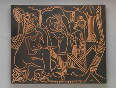 """Le déjeuner sur l'herbe"", after Manet I  Artist:Pablo Picasso (Spanish, Malaga 1881–1973 Mougins, France) Publisher:Galerie Madoura (Vallauris) Date:1964 Medium:Terracotta with black slip Dimensions:19 3/4 x 23 1/2 x 1 1/8 in. (50.2 x 59.7 x 2.9 cm) Classification:Ceramics-Pottery"
