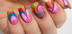 New Nail Designs 2015 for spring and summer – Inspiring Nail Art . Nail Art Designs 2016, Nail Polish Designs, Fingernail Designs, Nails Design, Cute Nail Art, Cute Nails, Bright Orange Nails, Nailart Glitter, Water Marble Nail Art