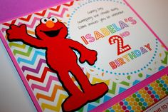 Cute rainbow Elmo invitation #invitation #elmo #rainbow